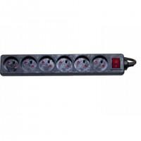Multiprise 6 prises avec interrupteur, 2P+T, 4 m - Noir