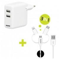 Port Designs 900043, Intérieur, Secteur, USB, 5 V, 3,4 A, 1,2 m, Blanc