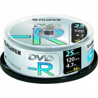 Fujifilm DVD-R 4,7Gb 25-spindle 4x, 4,7 Go, 120 mm, 25 pièce(s), 120 min, 45 - 85%, 0,74 µm